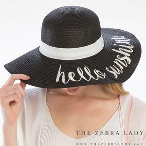 'Hello Sunshine' Embroidery Straw Floppy Sun Hat
